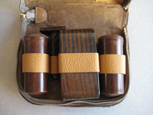 Shaving set in leather case
