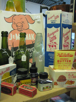 Packaging and advertising at Leicester Antiques Warehouse