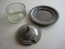 Dish, lid and saucer
